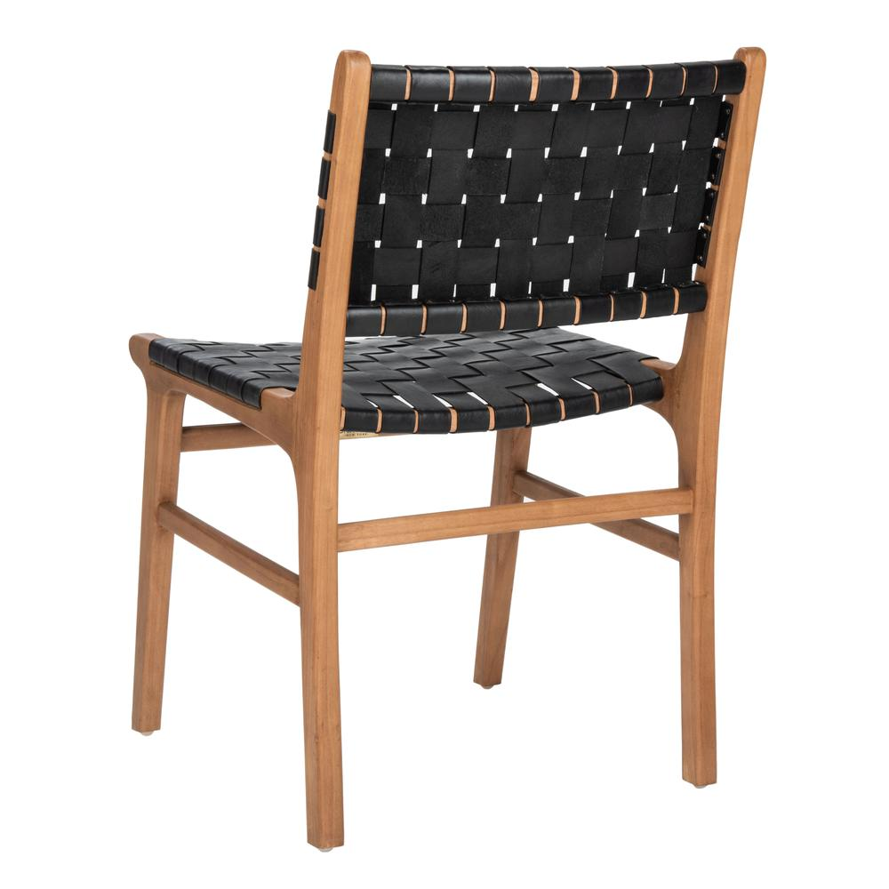 Taika Woven Leather Dining Chair, Black/Natural. Picture 3