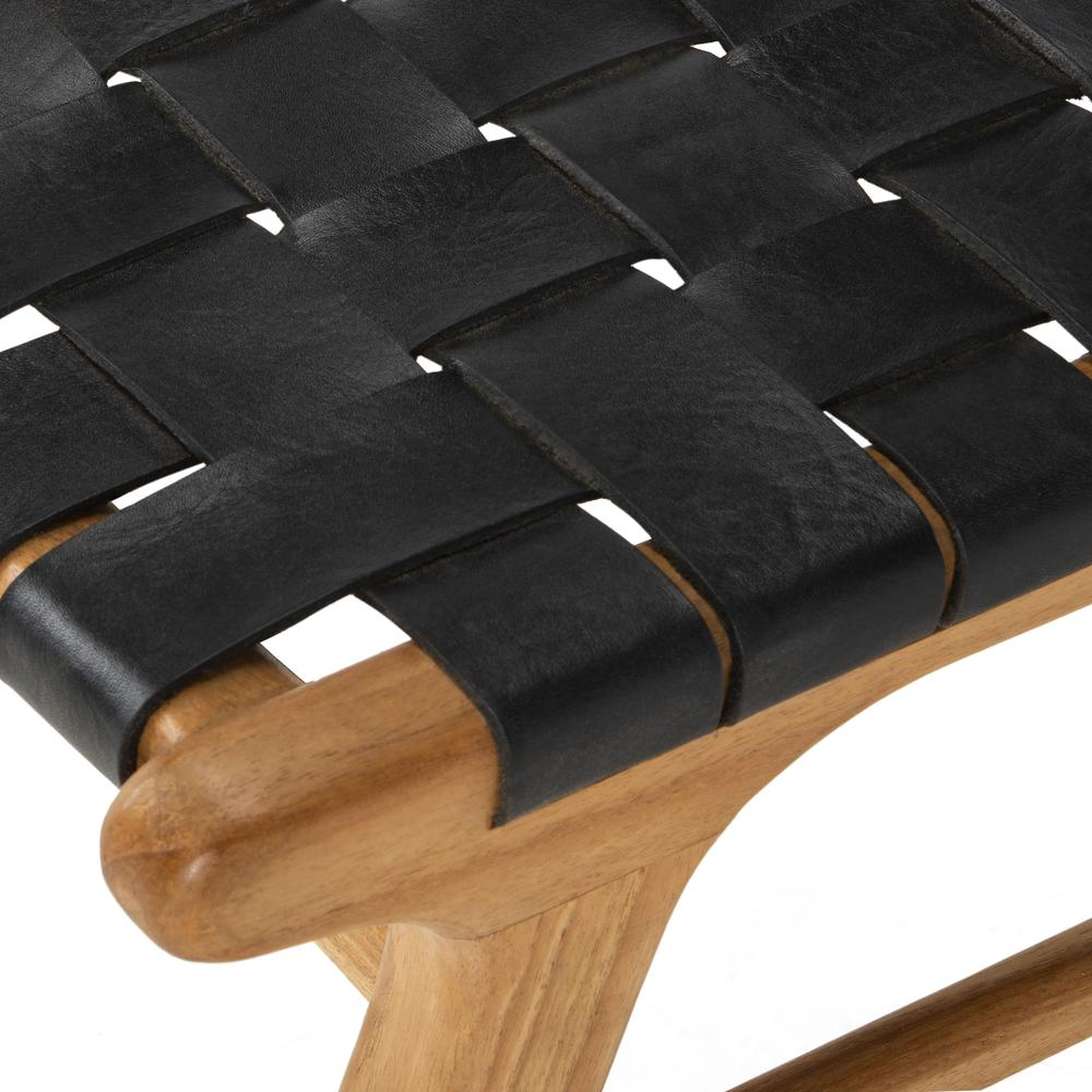 Taika Woven Leather Dining Chair, Black/Natural. Picture 5