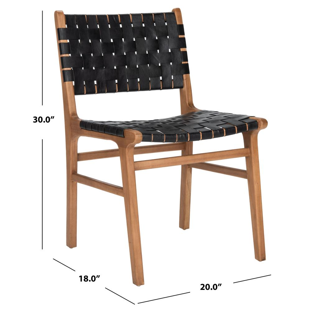 Taika Woven Leather Dining Chair, Black/Natural. Picture 6