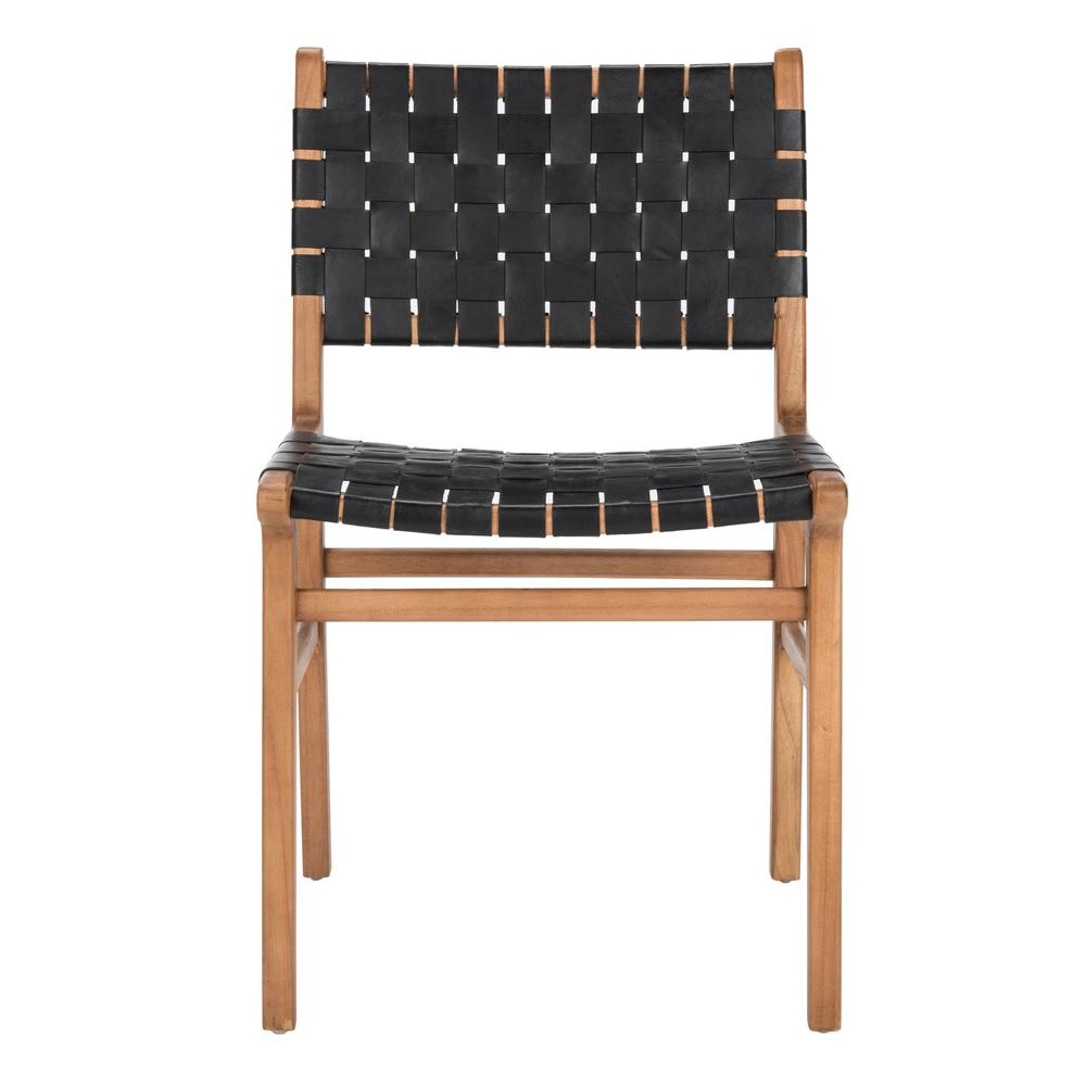 Taika Woven Leather Dining Chair, Black/Natural. Picture 1