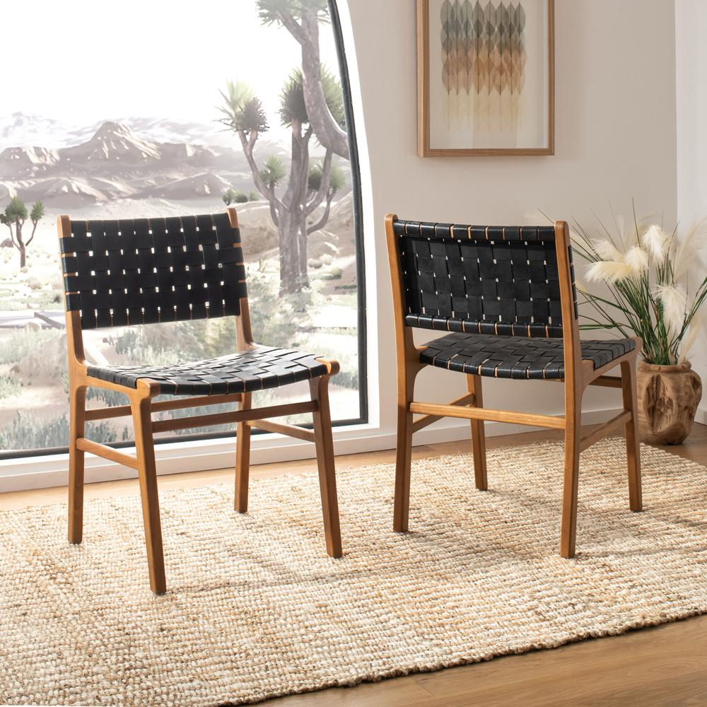 Taika Woven Leather Dining Chair, Black/Natural. Picture 8