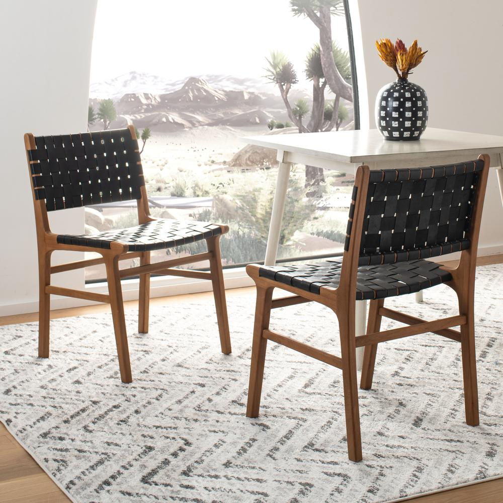 Taika Woven Leather Dining Chair, Black/Natural. Picture 9