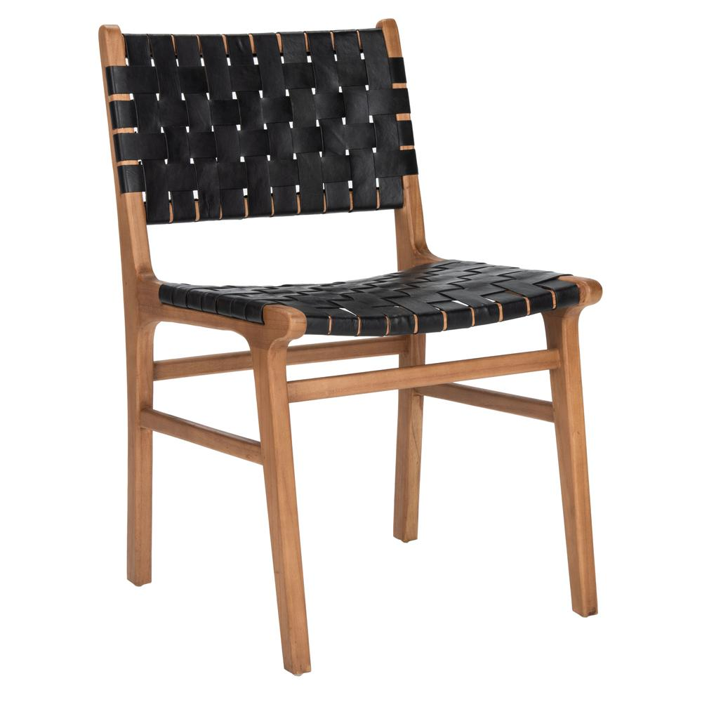 Taika Woven Leather Dining Chair, Black/Natural. Picture 10