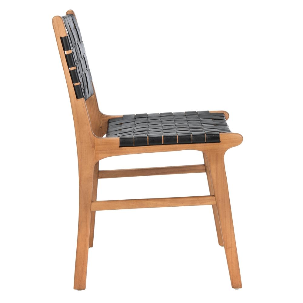 Taika Woven Leather Dining Chair, Black/Natural. Picture 11