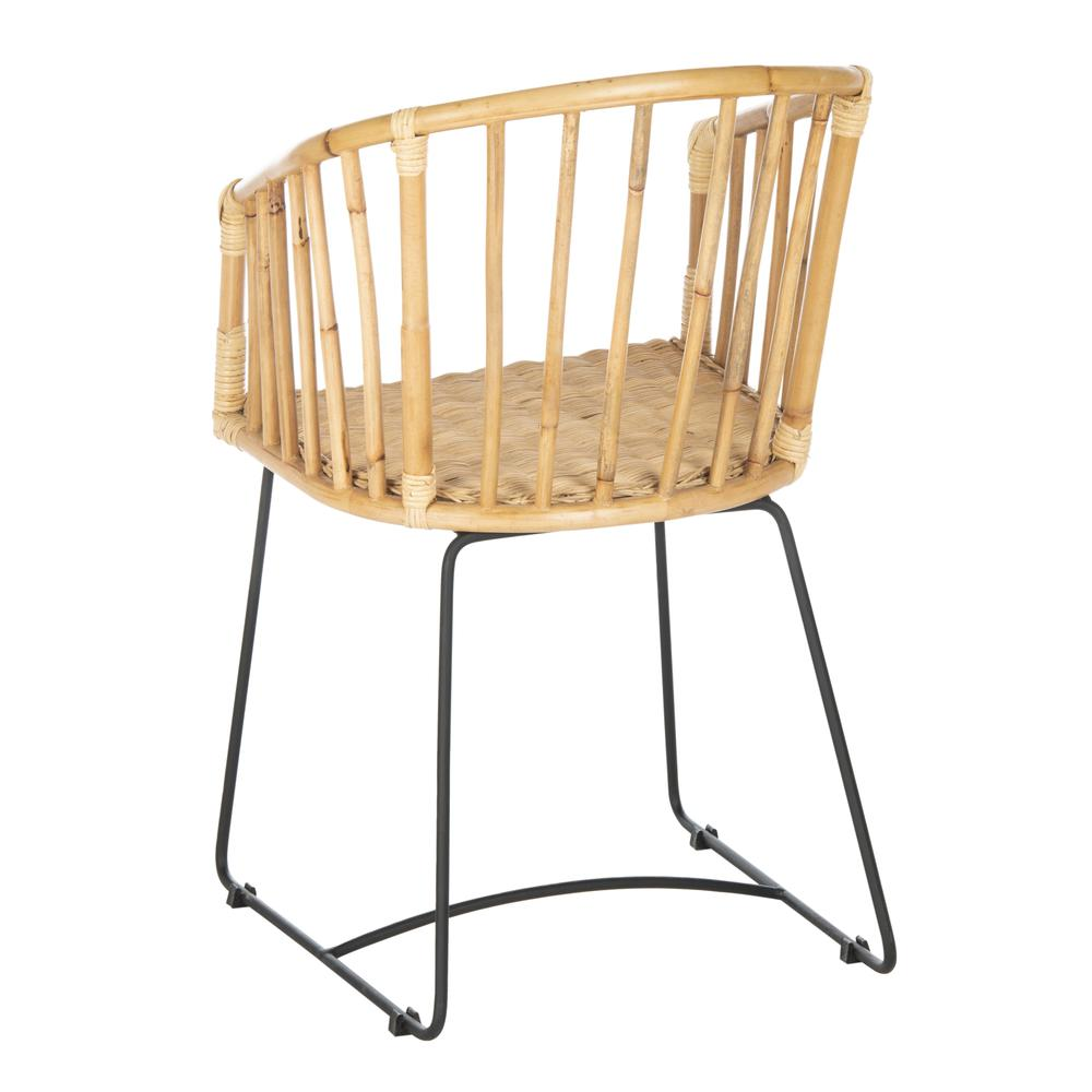 Siena Rattan Barrel Dining Chair, Natural/Black. Picture 3