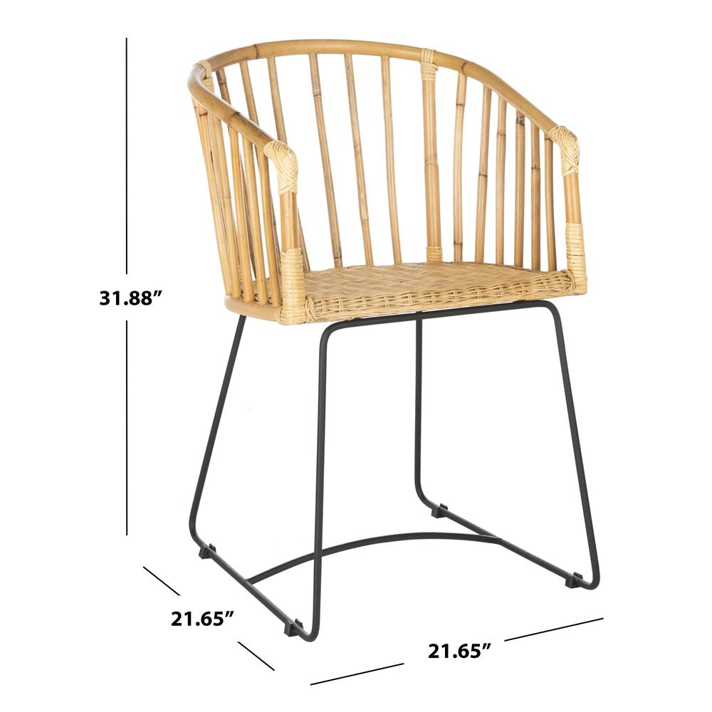 Siena Rattan Barrel Dining Chair, Natural/Black. Picture 6