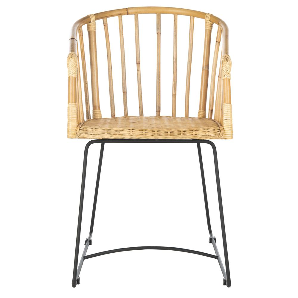 Siena Rattan Barrel Dining Chair, Natural/Black. Picture 1
