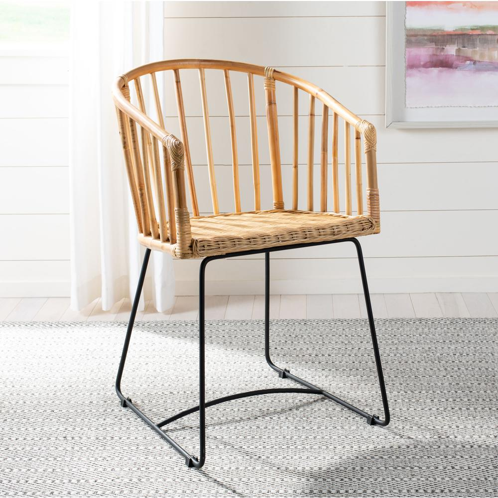 Siena Rattan Barrel Dining Chair, Natural/Black. Picture 8