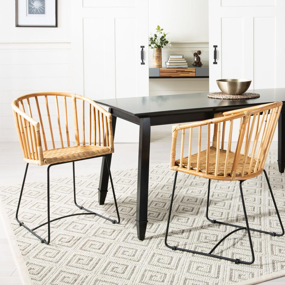 Siena Rattan Barrel Dining Chair, Natural/Black. Picture 9