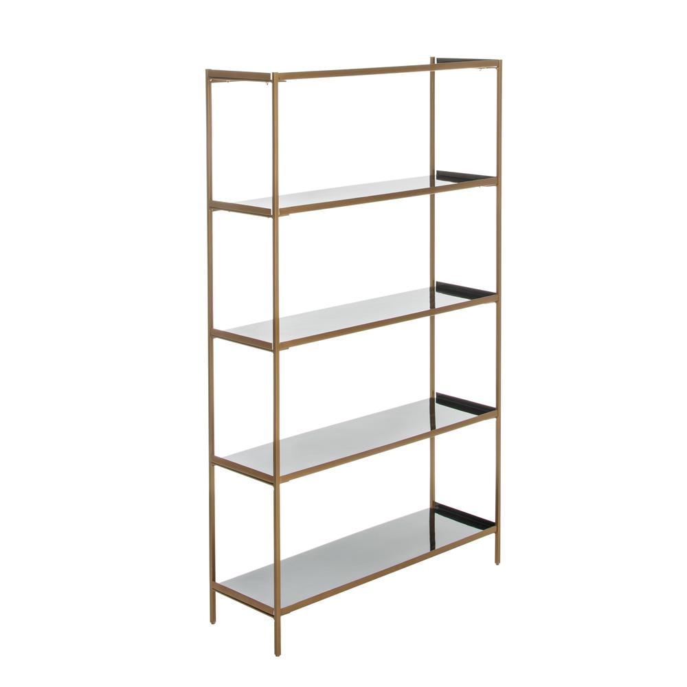 Justine 5 Tier Etagere, Black/Brass. Picture 3