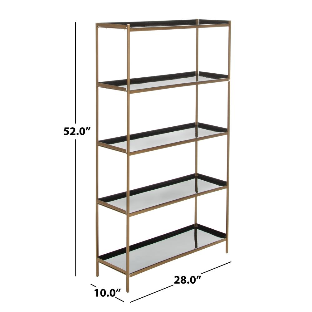Justine 5 Tier Etagere, Black/Brass. Picture 5