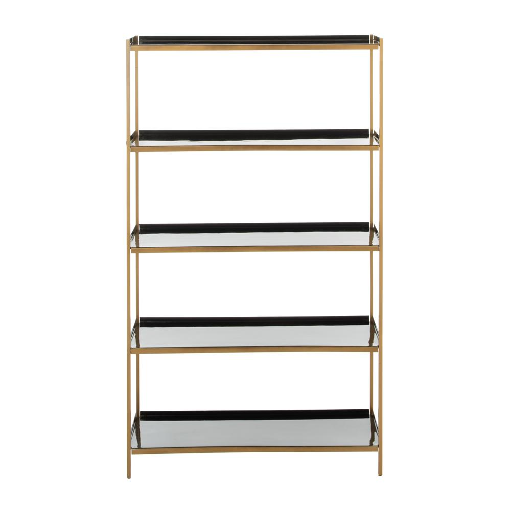 Justine 5 Tier Etagere, Black/Brass. Picture 1
