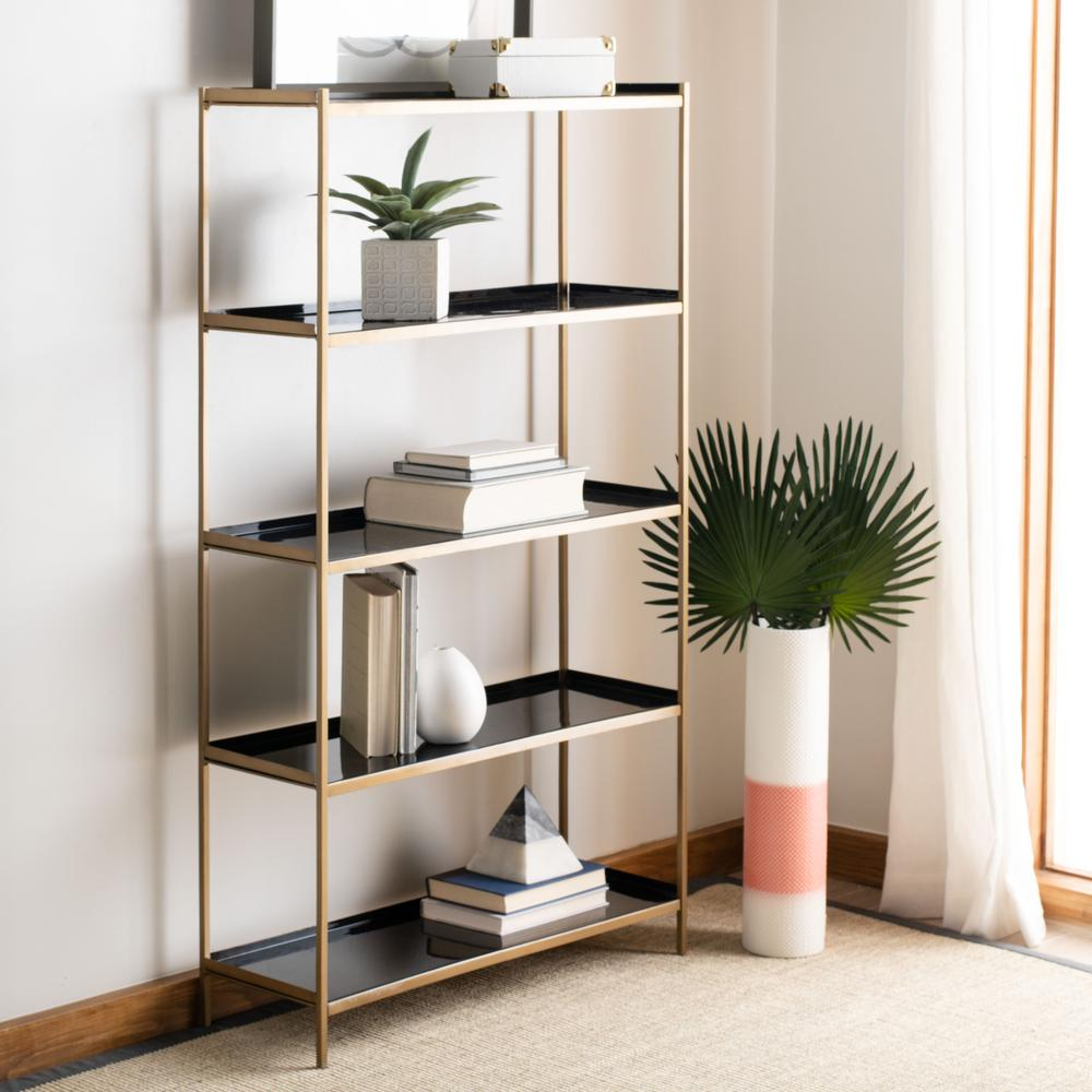 Justine 5 Tier Etagere, Black/Brass. Picture 7