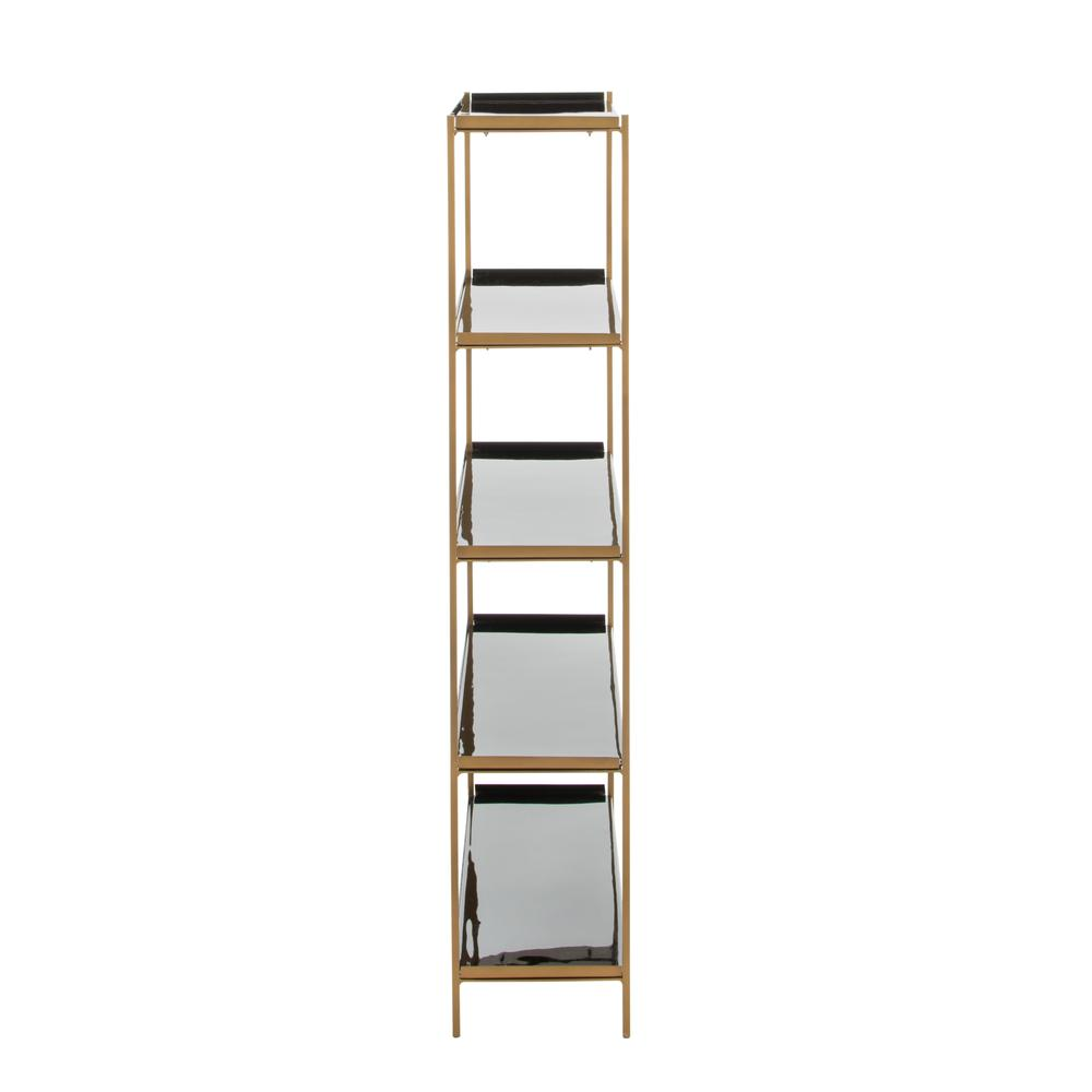 Justine 5 Tier Etagere, Black/Brass. Picture 9