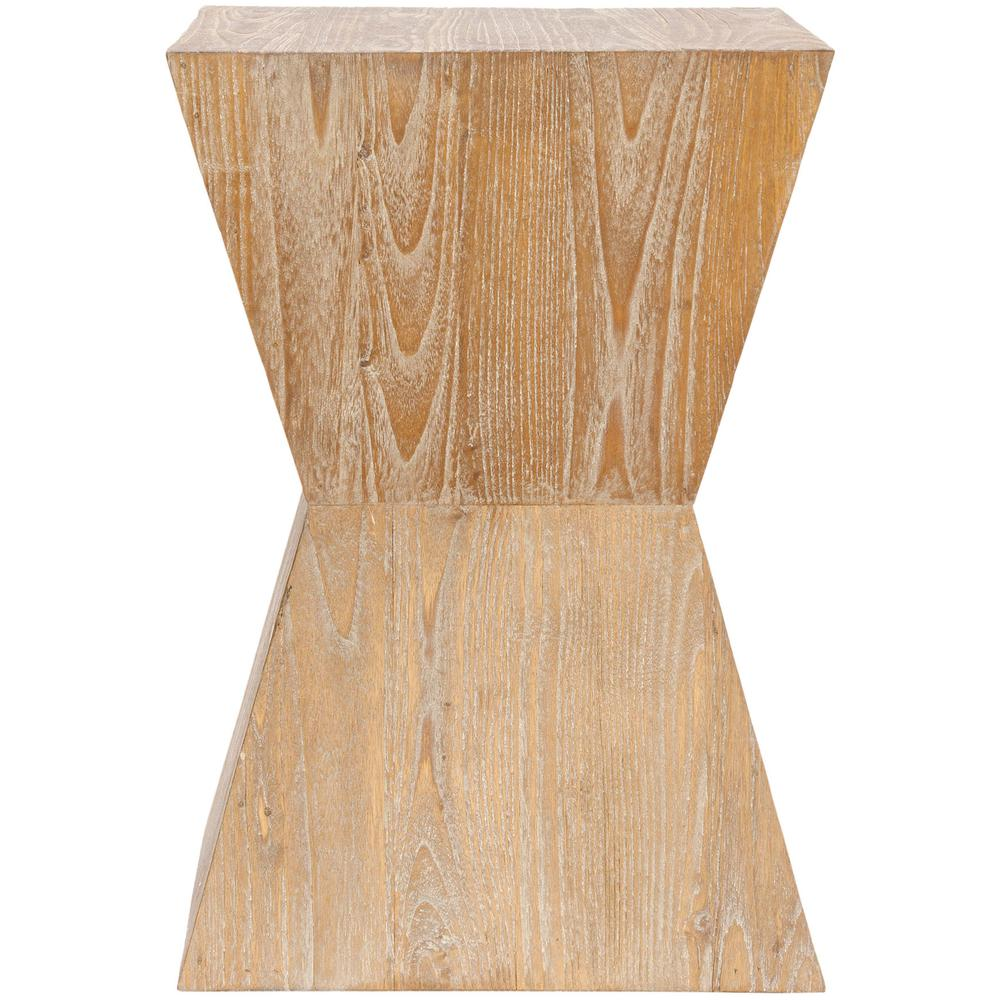 NATAK CURVED OAK SIDE TABLE. Picture 1