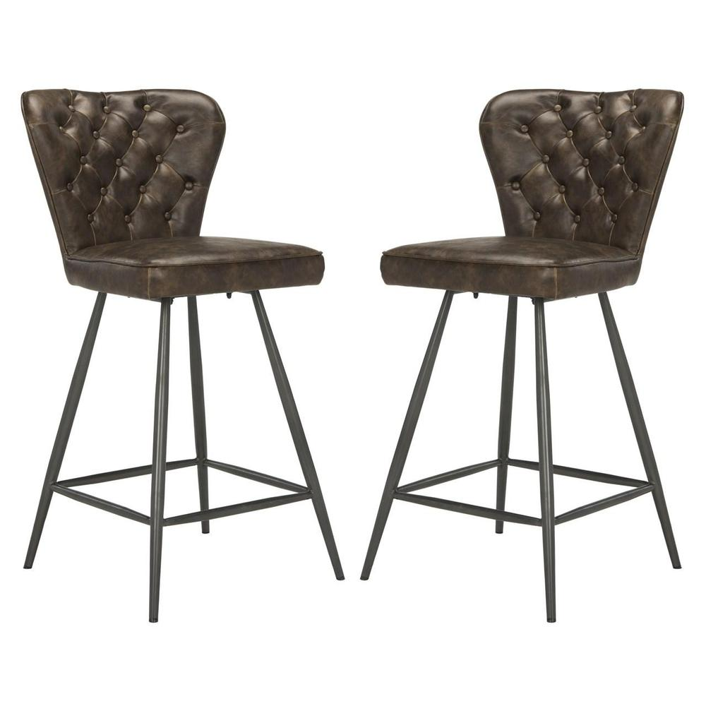 """ASHBY 26""""H MID CENTURY MODERN LEATHER TUFTED SWIVEL COUNTER STOOL, FOX1702A-SET2. Picture 1"""