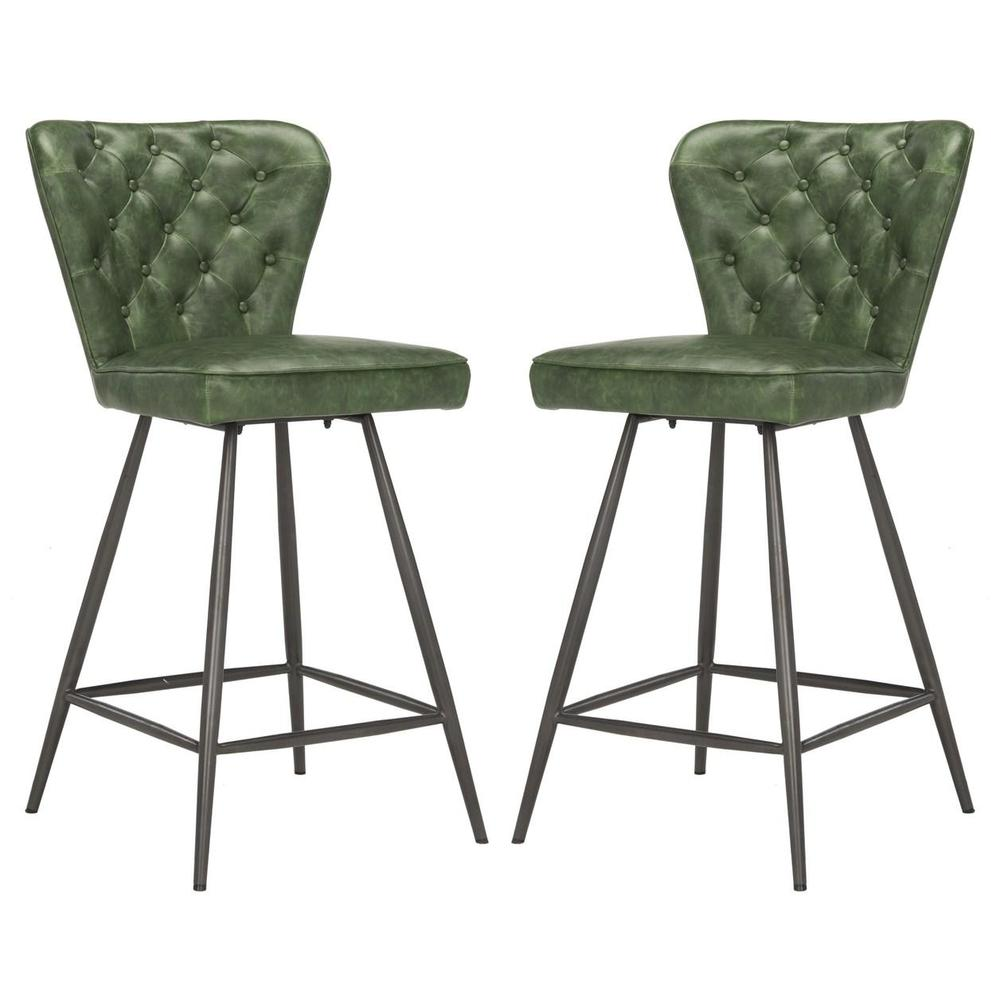 """ASHBY 26""""H MID CENTURY MODERN LEATHER TUFTED SWIVEL COUNTER STOOL, FOX1702B-SET2. Picture 1"""