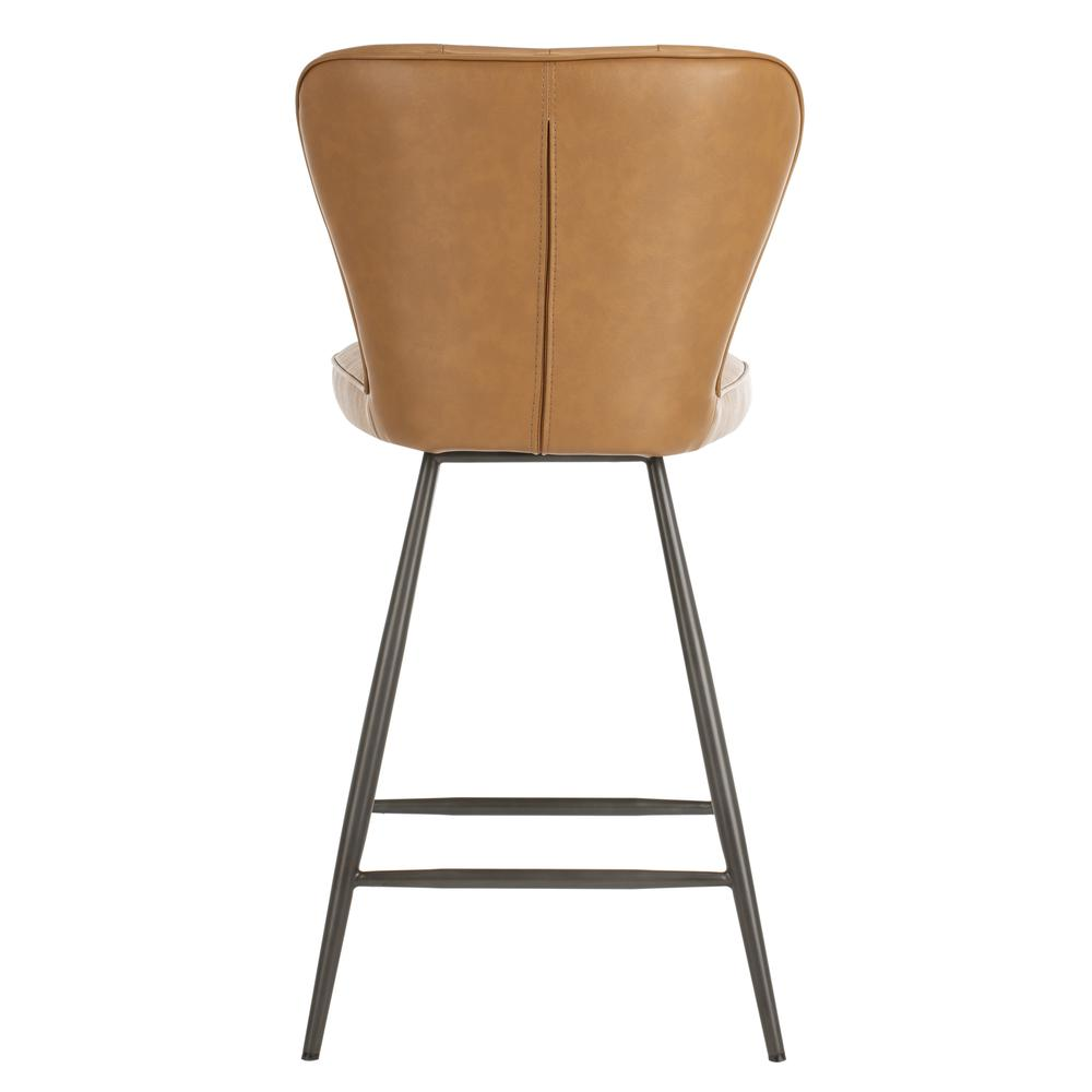 """Ashby 26""""H Mid Century Modern Leather Tufted Swivel Counter Stool , Camel/Black. Picture 2"""