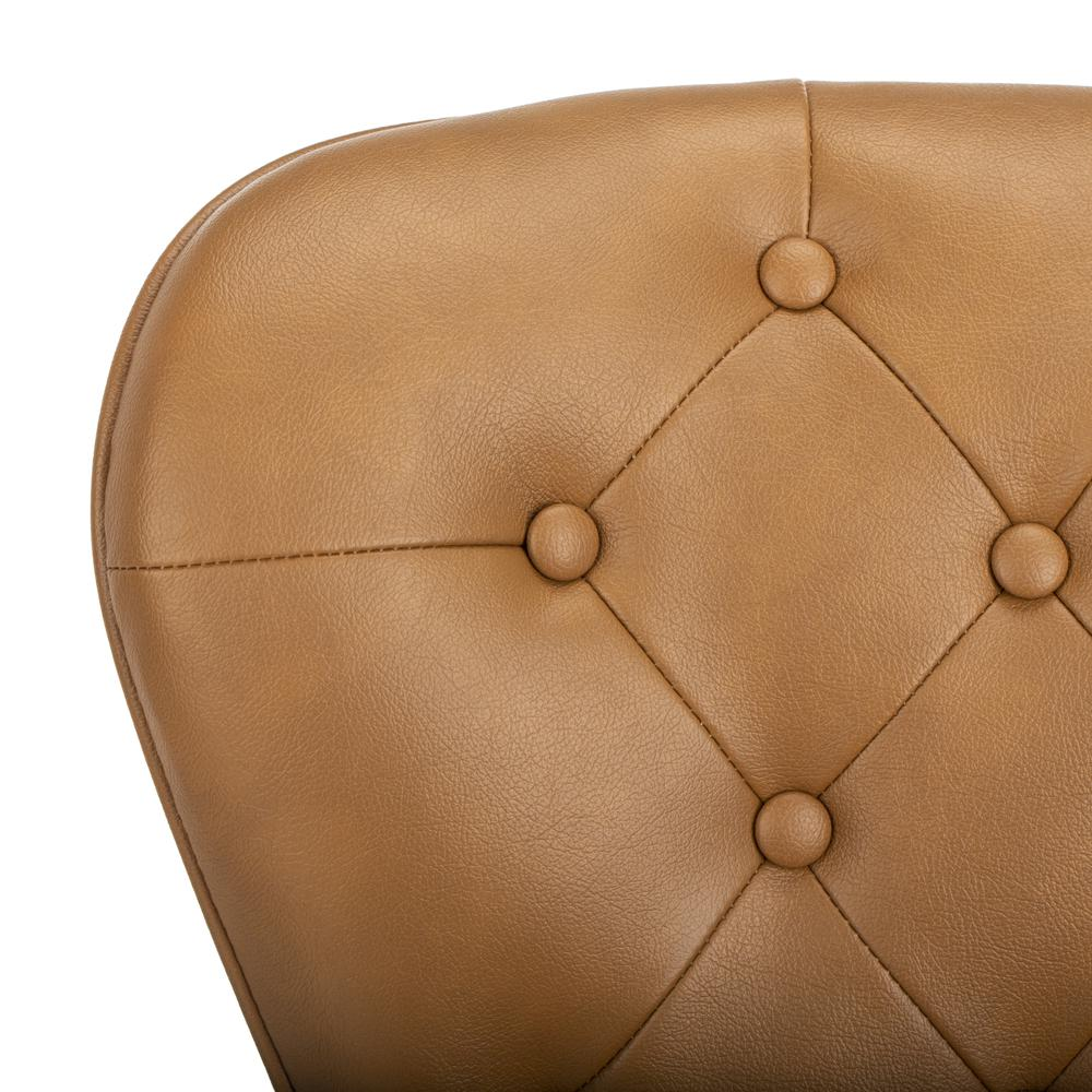 """Ashby 26""""H Mid Century Modern Leather Tufted Swivel Counter Stool , Camel/Black. Picture 4"""