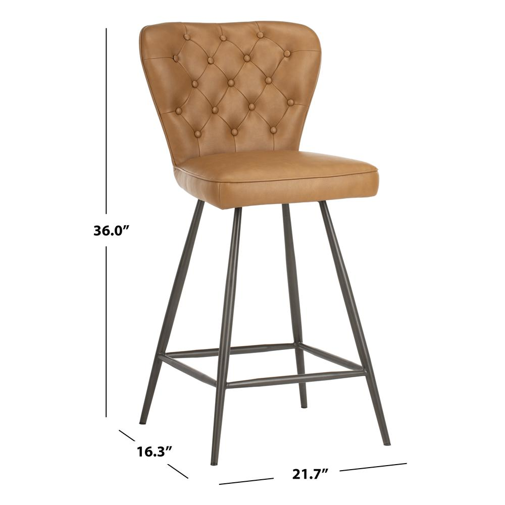 """Ashby 26""""H Mid Century Modern Leather Tufted Swivel Counter Stool , Camel/Black. Picture 5"""