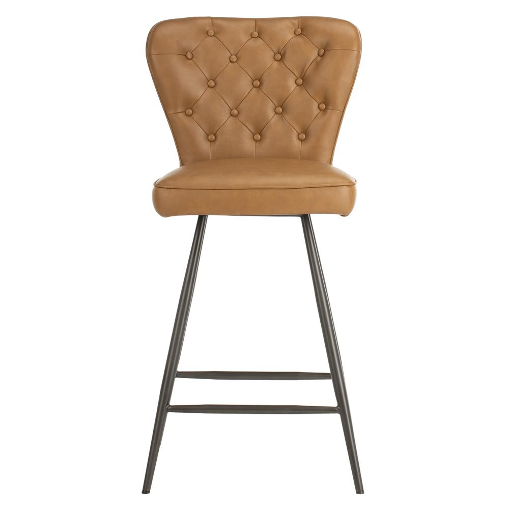 """Ashby 26""""H Mid Century Modern Leather Tufted Swivel Counter Stool , Camel/Black. Picture 1"""