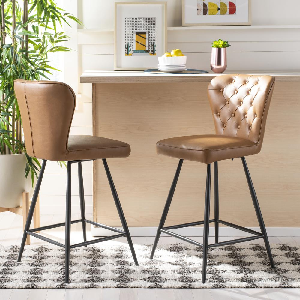 """Ashby 26""""H Mid Century Modern Leather Tufted Swivel Counter Stool , Camel/Black. Picture 7"""