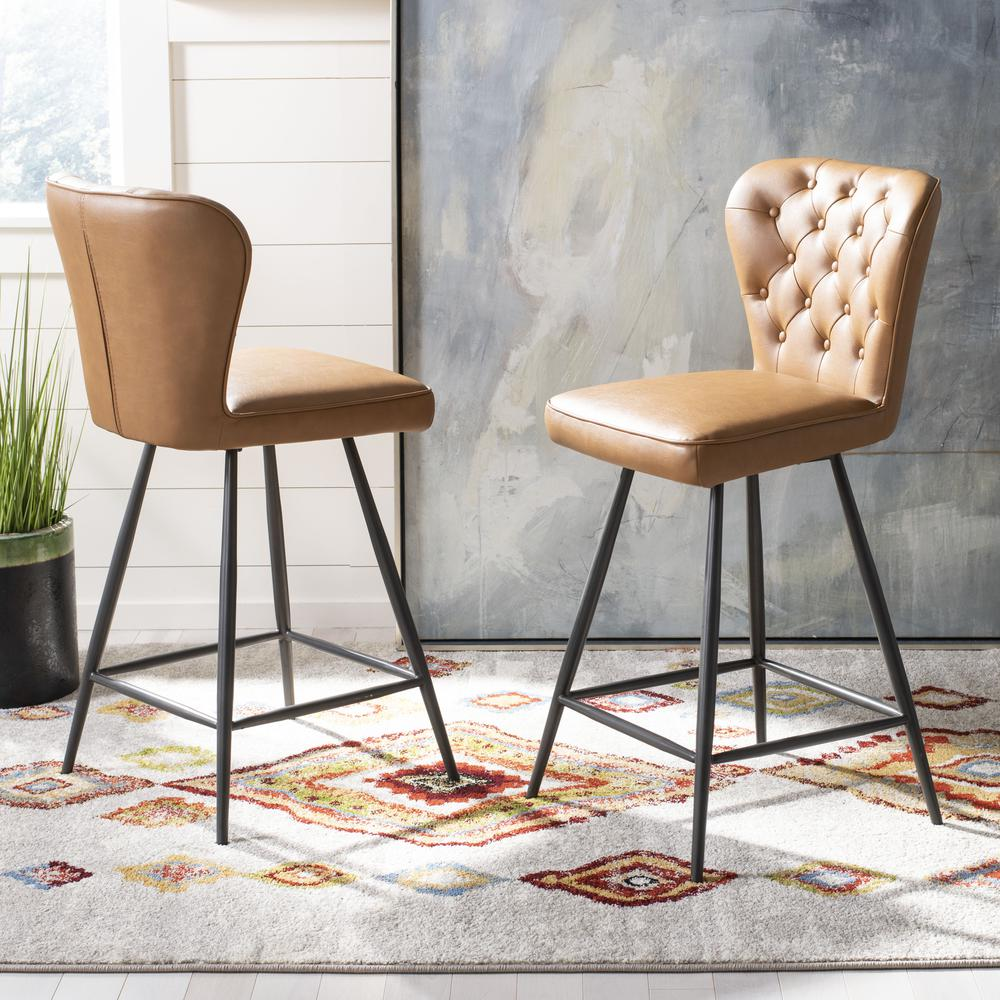 """Ashby 26""""H Mid Century Modern Leather Tufted Swivel Counter Stool , Camel/Black. Picture 8"""