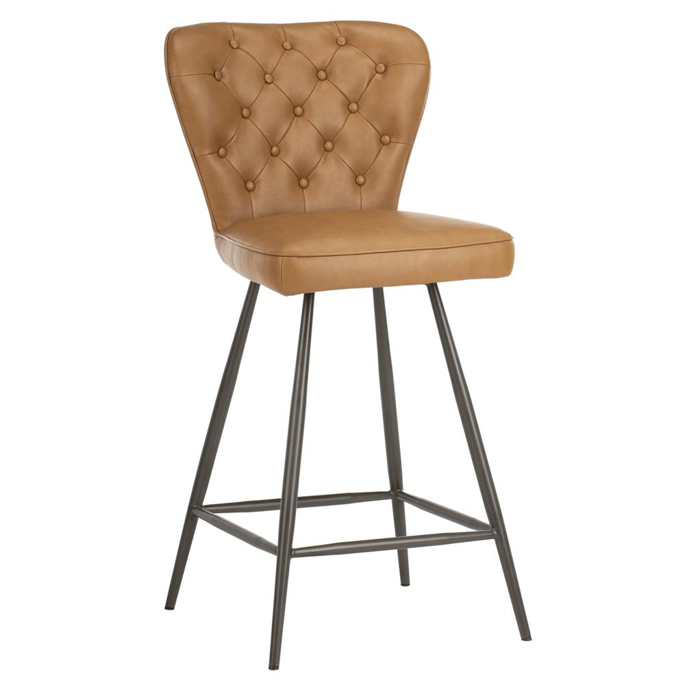 """Ashby 26""""H Mid Century Modern Leather Tufted Swivel Counter Stool , Camel/Black. Picture 9"""