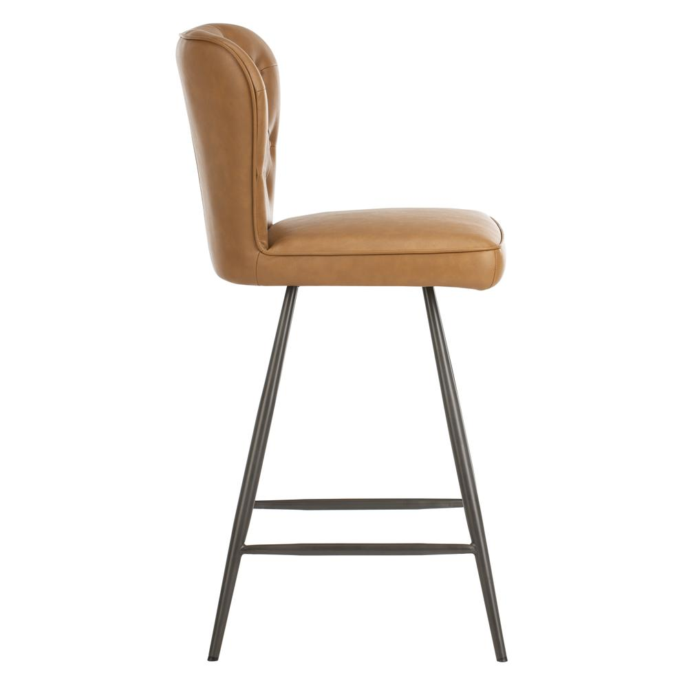 """Ashby 26""""H Mid Century Modern Leather Tufted Swivel Counter Stool , Camel/Black. Picture 10"""