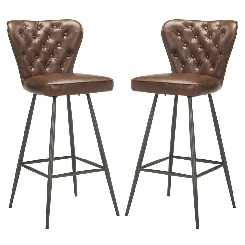 """ASTER 30""""H MID CENTURY MODERN LEATHER TUFTED BAR STOOL. Picture 1"""
