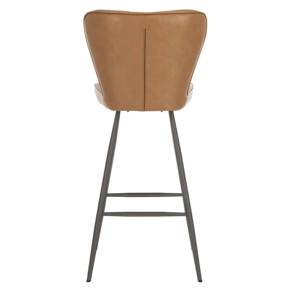 "Aster 30""H Mid Century Modern Leather Tufted Bar Stool , Camel/Black. Picture 2"