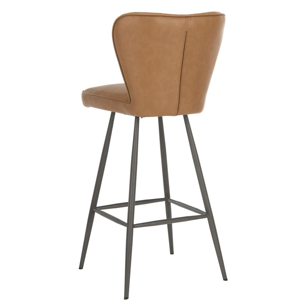 "Aster 30""H Mid Century Modern Leather Tufted Bar Stool , Camel/Black. Picture 3"