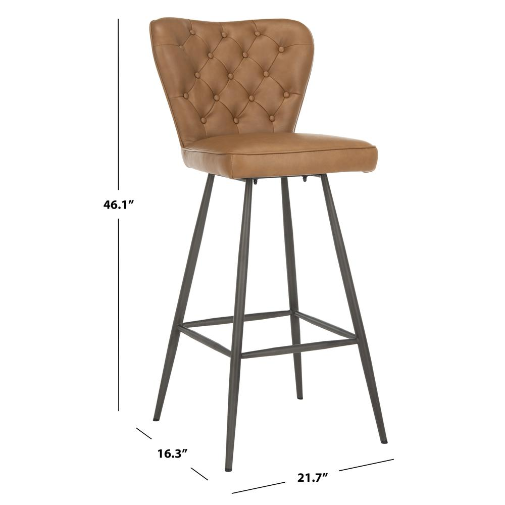 "Aster 30""H Mid Century Modern Leather Tufted Bar Stool , Camel/Black. Picture 5"