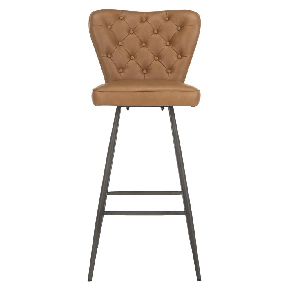 "Aster 30""H Mid Century Modern Leather Tufted Bar Stool , Camel/Black. Picture 1"