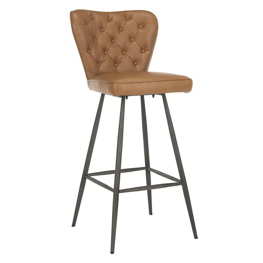 "Aster 30""H Mid Century Modern Leather Tufted Bar Stool , Camel/Black. Picture 9"