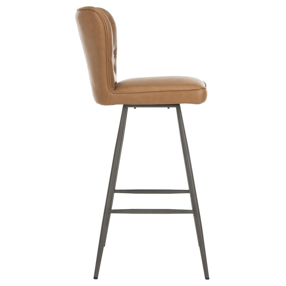 "Aster 30""H Mid Century Modern Leather Tufted Bar Stool , Camel/Black. Picture 10"