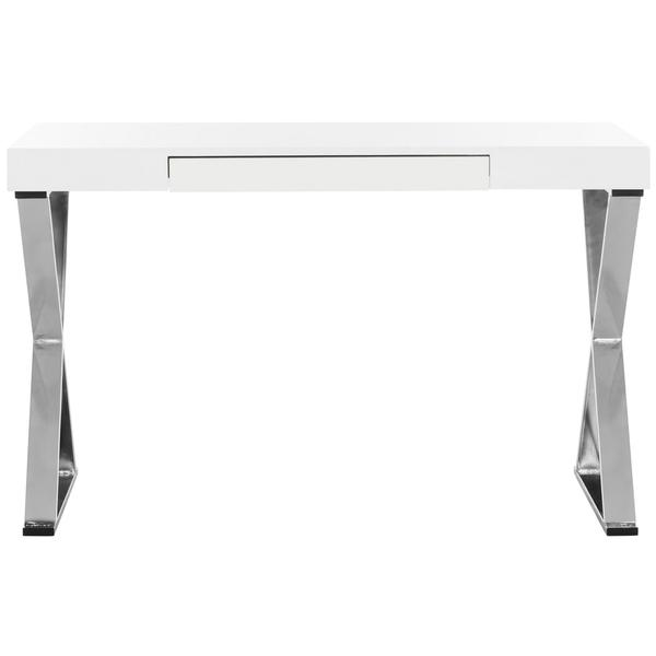PALEY 47''W ONE DRAWER LACQUER & CHROME  DESK. Picture 1