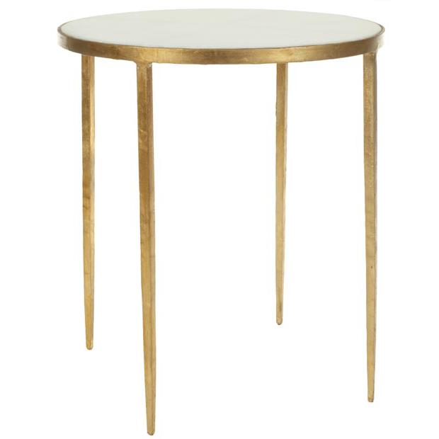TRACEY GOLD FOIL ROUND TOP ACCENT TABLE. Picture 1