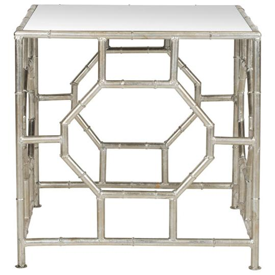 RORY SILVER MIRROR TOP ACCENT TABLE. Picture 1