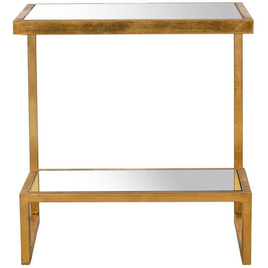KENNEDY MIRROR TOP GOLD  ACCENT TABLE, FOX2522A. Picture 1
