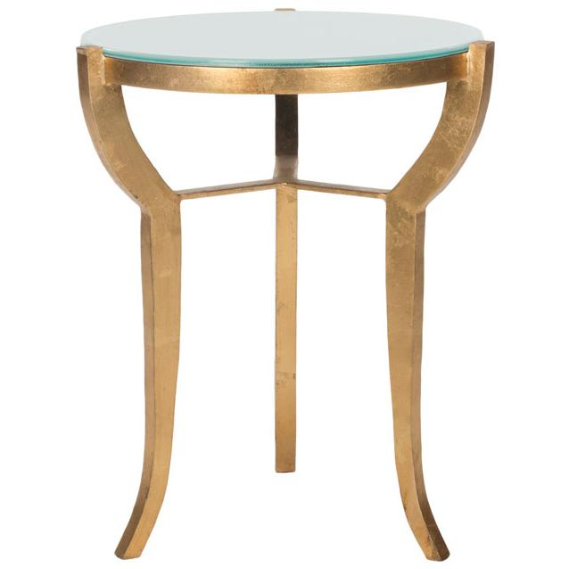 ORMOND MIRROR TOP GOLD LEAF ACCENT TABLE. Picture 1