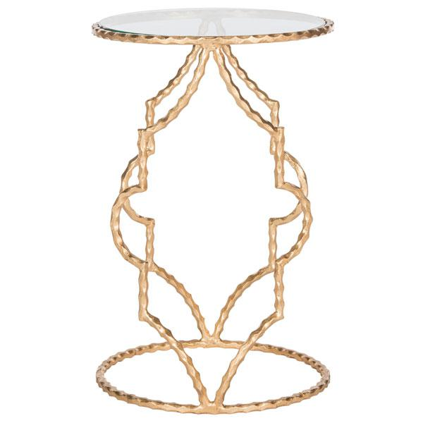 IRA ROUND GOLD LEAF END TABLE. Picture 1