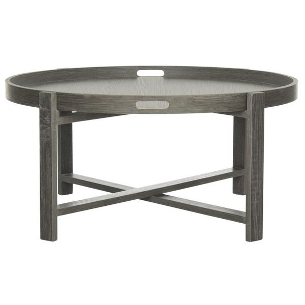 CURSTEN RETRO MID CENTURY WOOD TRAY TOP COFFEE TABLE. Picture 1