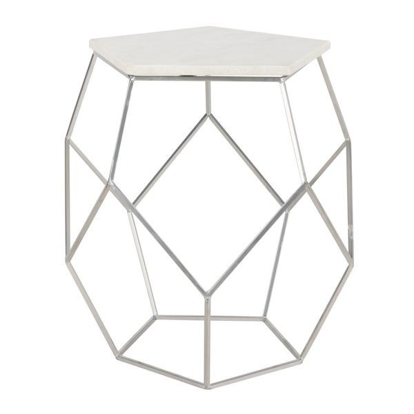 MODERN PENTAGON MARBLE TOP SIDE TABLE. Picture 1
