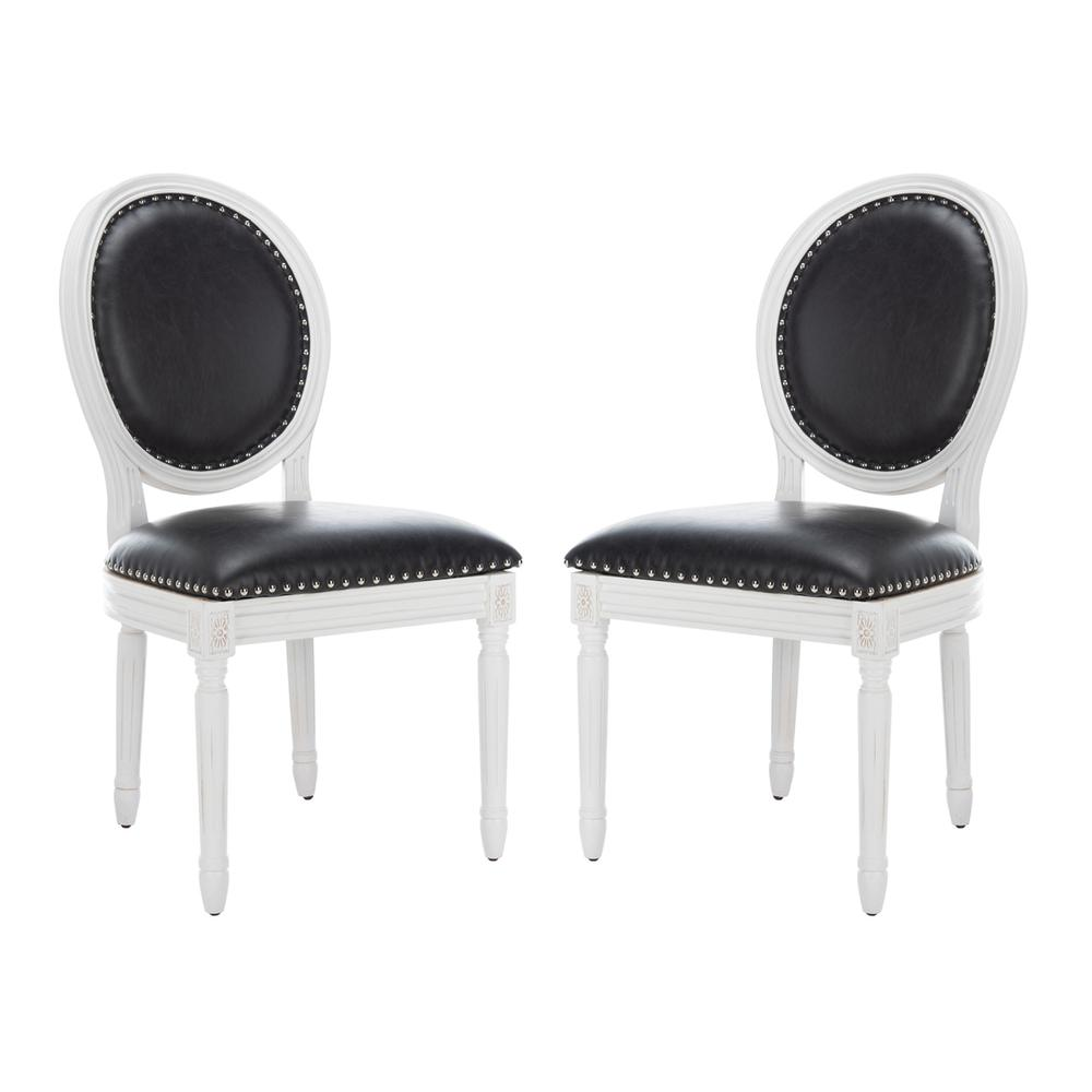 HOLLOWAY 19''H FRENCH BRASSERIE LEATHER OVAL SIDE CHAIR - SILVER NAIL HEADS. Picture 1