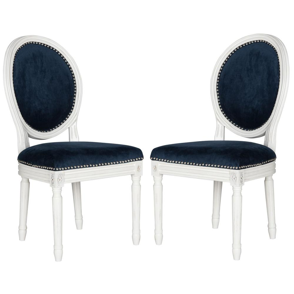 HOLLOWAY 19''H FRENCH BRASSERIE VELVET OVAL SIDE CHAIR - SILVER NAIL HEADS. The main picture.