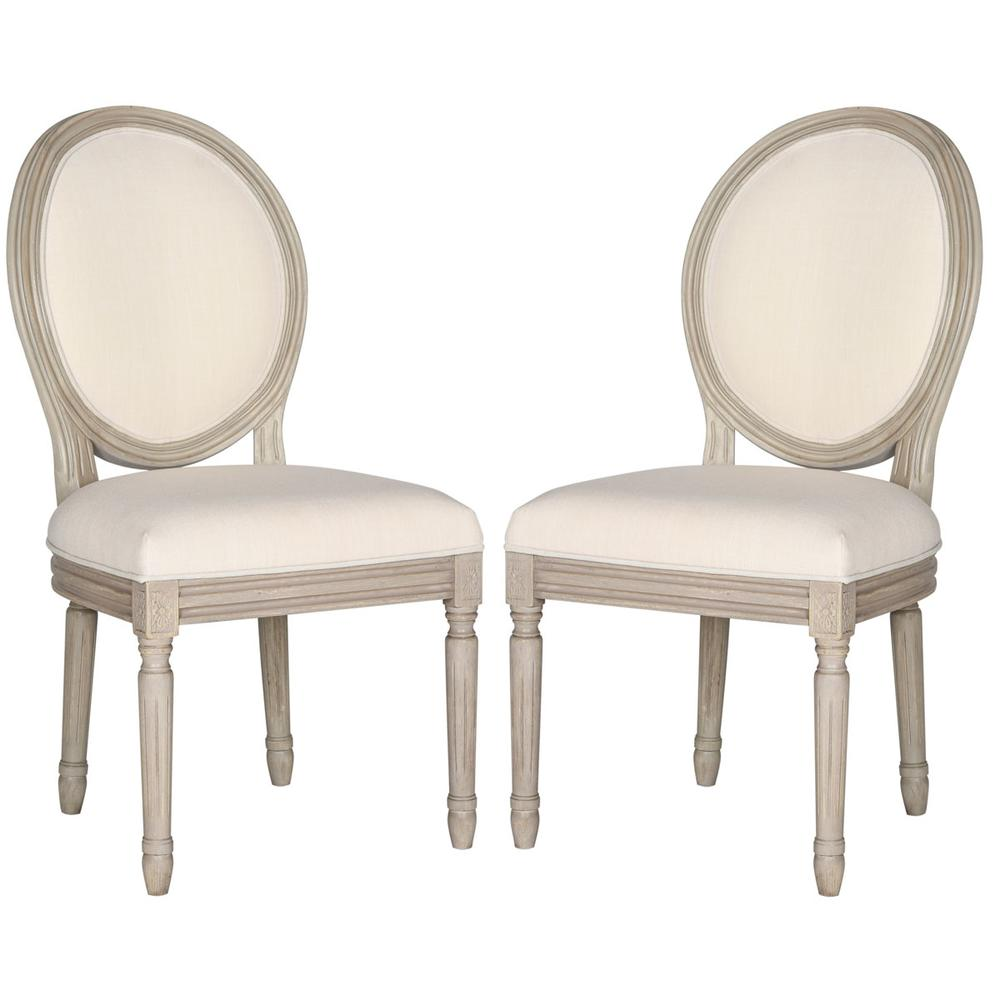 HOLLOWAY 19''H FRENCH BRASSERIE LINEN OVAL SIDE CHAIR, FOX6228H-SET2. Picture 1