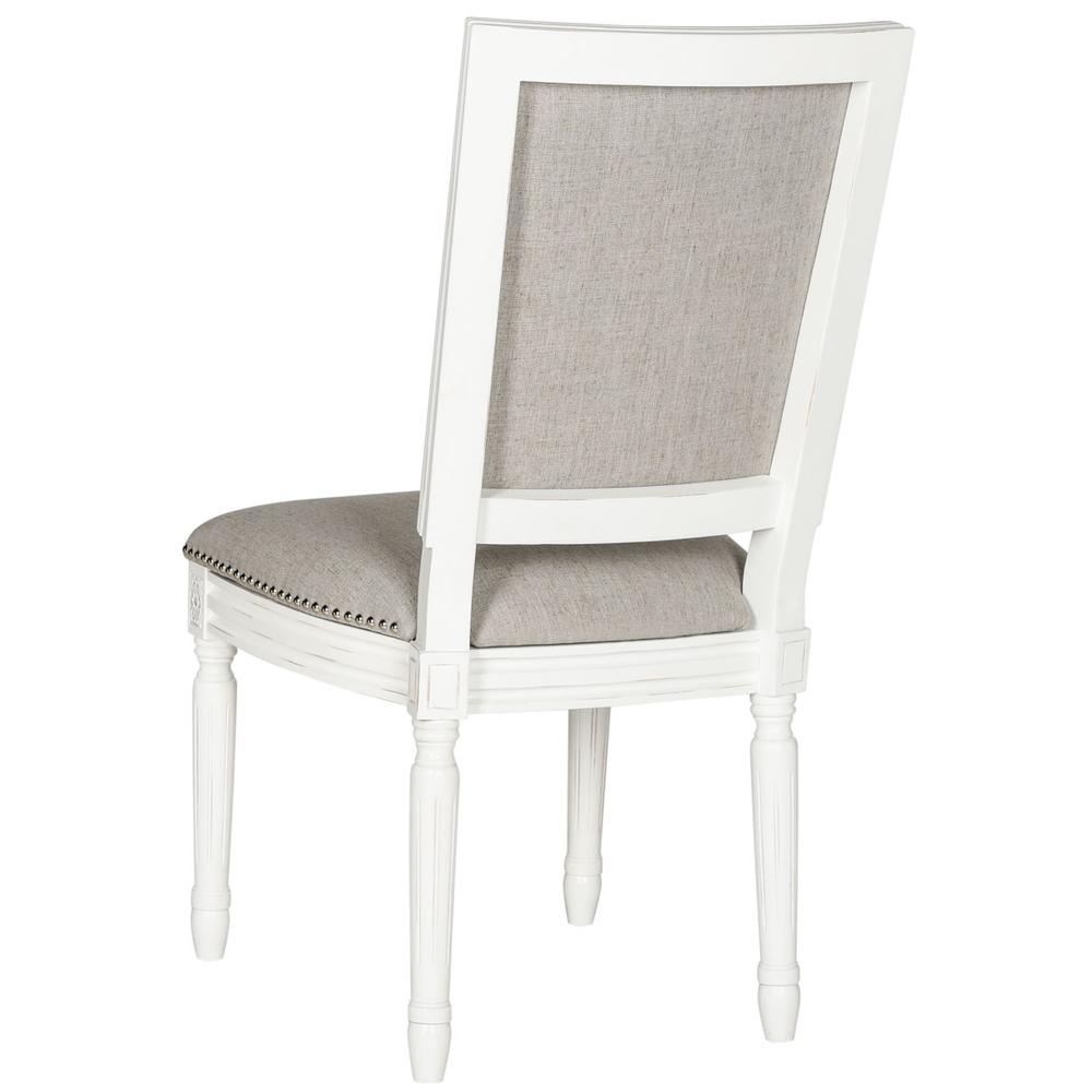 BUCHANAN 19''H FRENCH BRASSERIE LINEN RECT SIDE CHAIR - SILVER NAIL HEADS. Picture 1