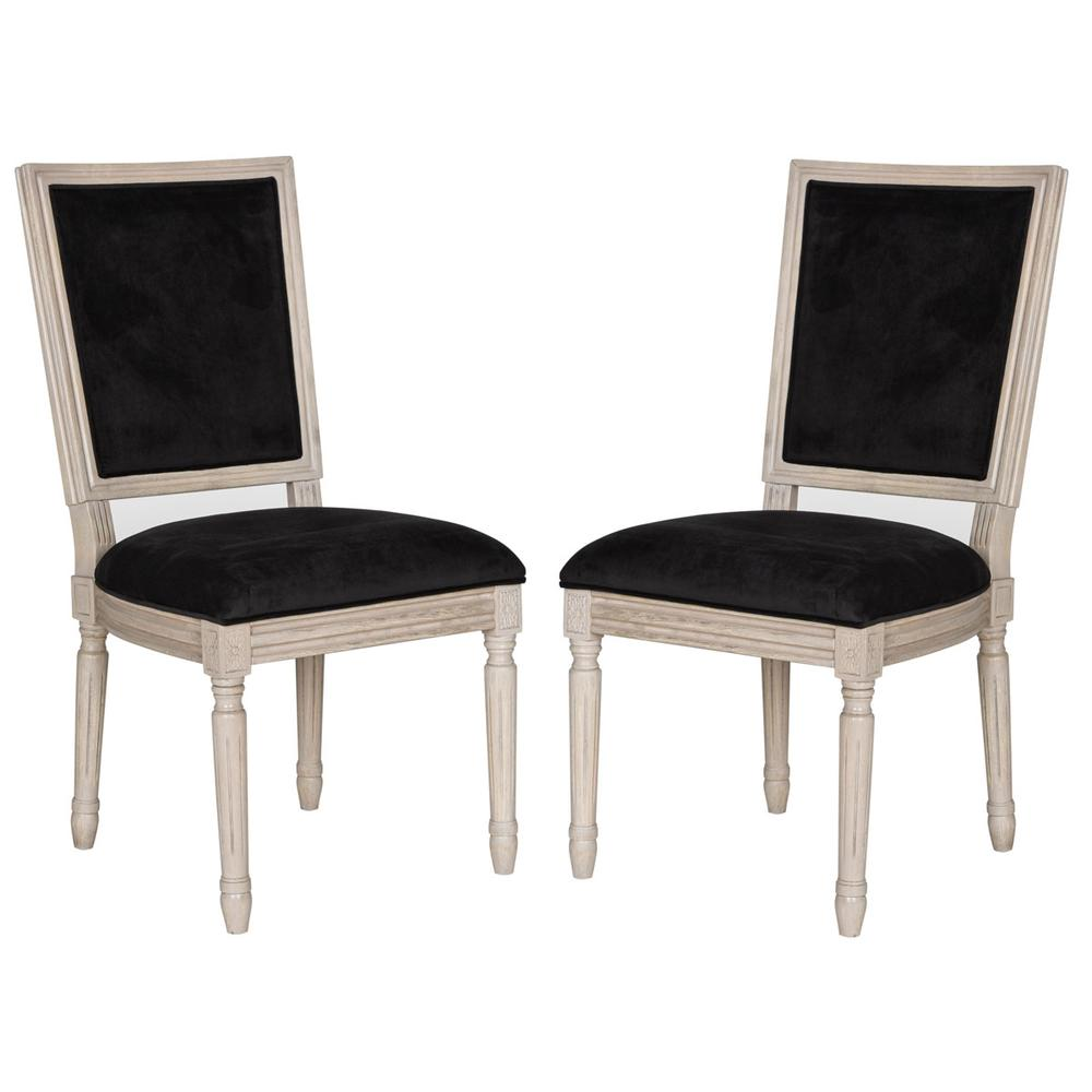 BUCHANAN 19''H FRENCH BRASSERIE VELVET RECT SIDE CHAIR - SILVER NAIL HEADS. Picture 1