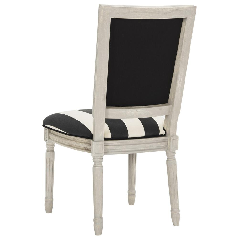 BUCHANAN 19''H FRENCH BRASSERIE STRIPED LINEN RECT SIDE CHAIR. Picture 1
